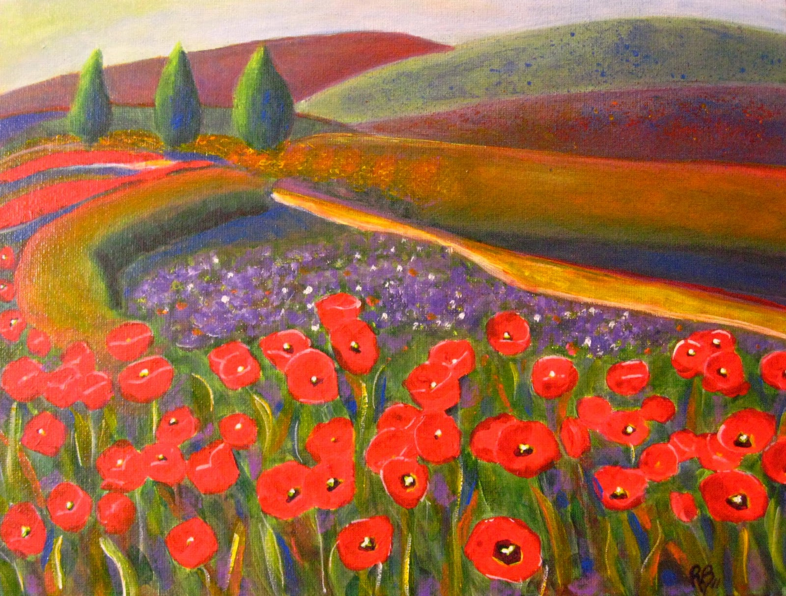 Robie benve art colorful landscape acrylic painting for Painting large flowers in acrylic