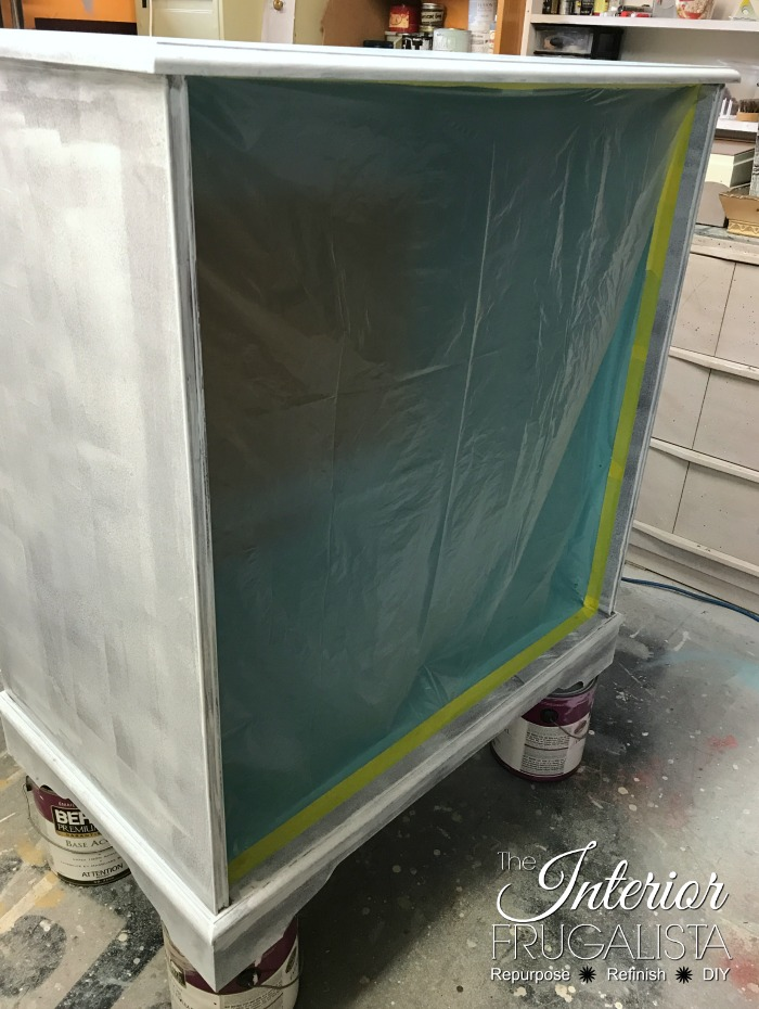 Hollywood Regency Bar Cabinet Spray Paint Prep