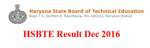 HSBTE Result Dec 2016