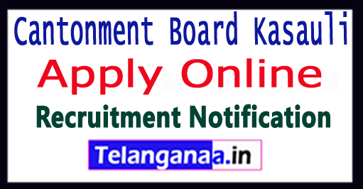 Cantonment Board Kasauli Recruitment Notification 2017 Apply