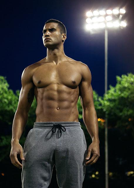 Devin Goda by Erik Carter shirtless male black model in grey sweatpants