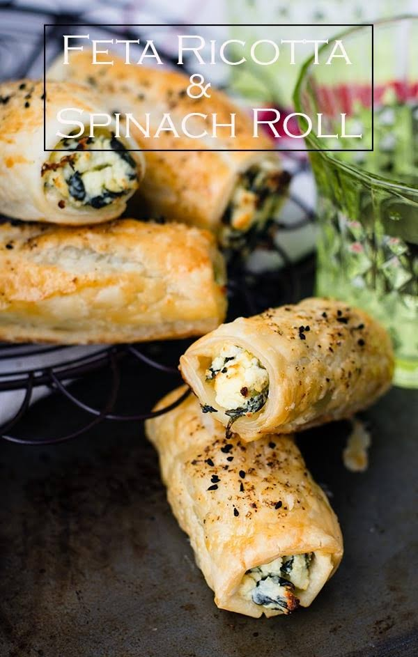 Easy to bake Feta Ricotta and Spinach rolls, made from puff pastry, frozen spinach and ricotta cheese.