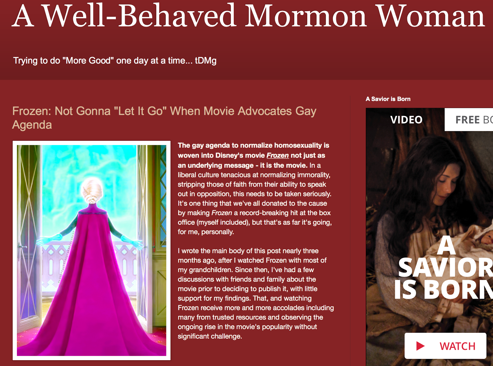 A mormon blogger flips out about Frozen and the Gay Agenda
