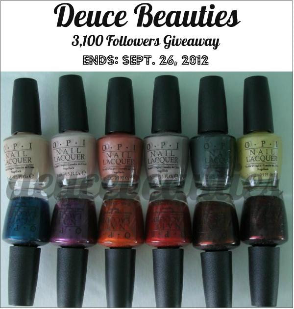 Deuce Beauties Giveaway 3 100 Followers Feat Opi Germany Collection