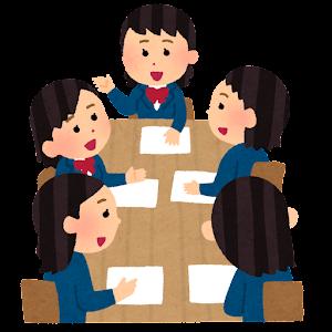 学生の会議のイラスト(ブレザー・笑顔・女性)