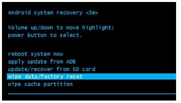wipe data/factory reset