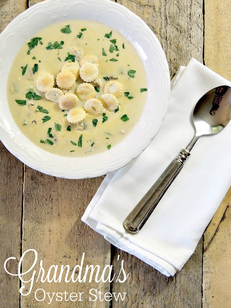 Grandma's Oyster Stew - This classic oyster stew is a quick, easy, and delicious way to start your holiday meal. It is my Grandmother's recipe and is as rich in flavor as it is in holiday tradition from www.bobbiskozykitchen.com #fish #seafood #easy #stew