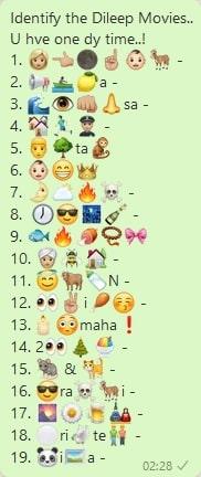 Identify the Dileep Movies whatsapp emoji puzzle
