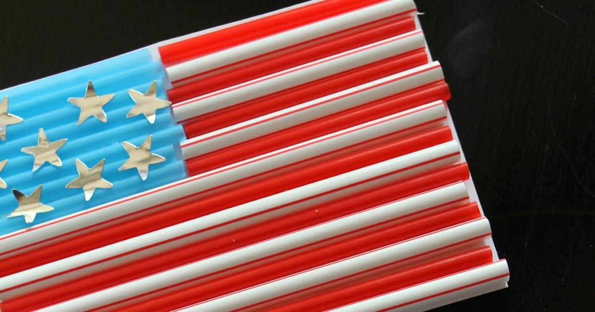 Drinking Straw American Flag Kid Craft Reading Confetti