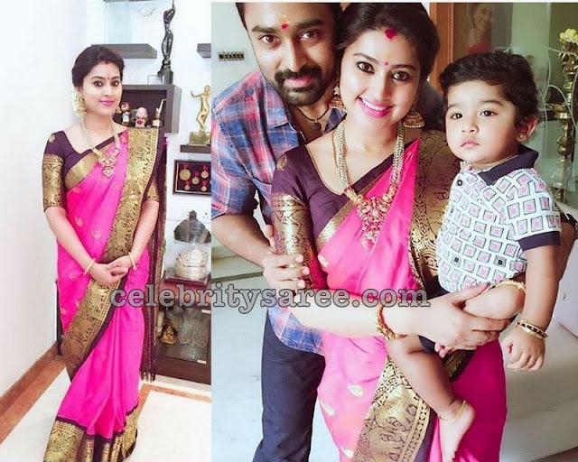 Sneha Baby Pink Silk Saree