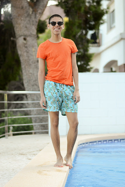 short masculino estampado para praia
