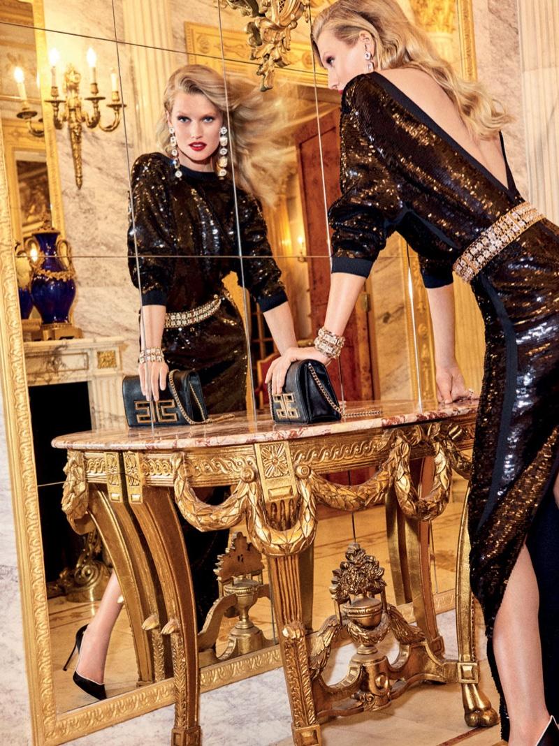 Toni Garrn wears Elisabetta Franchi gown