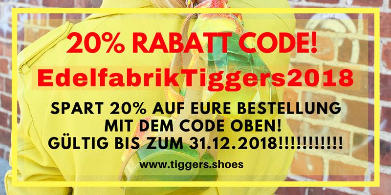 20 % Rabatt auf Schuhe von Tiggers, Tiggers Rabattcode für 2018
