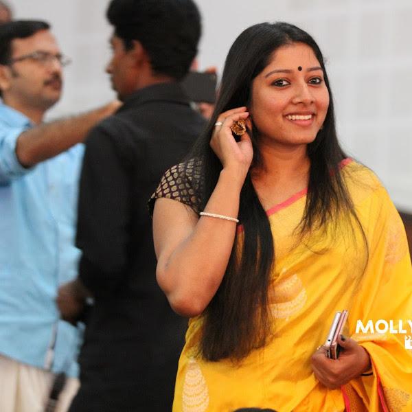 Anumol latest photos in saree from Sarayu's wedding
