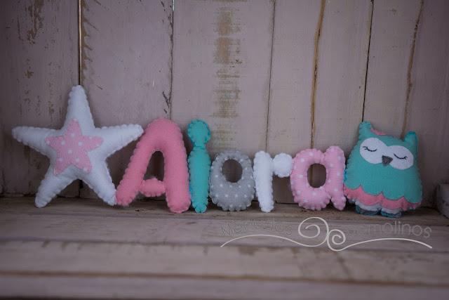 Nombre estrella y buha (tonos mint y rosa) - Aiora