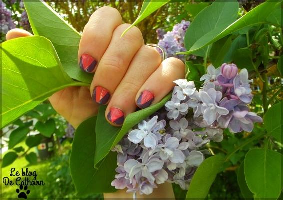 manucure corail et violet