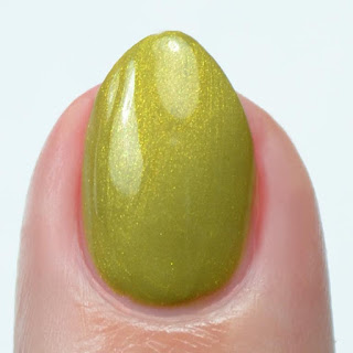 shimmery green nail polish swatch