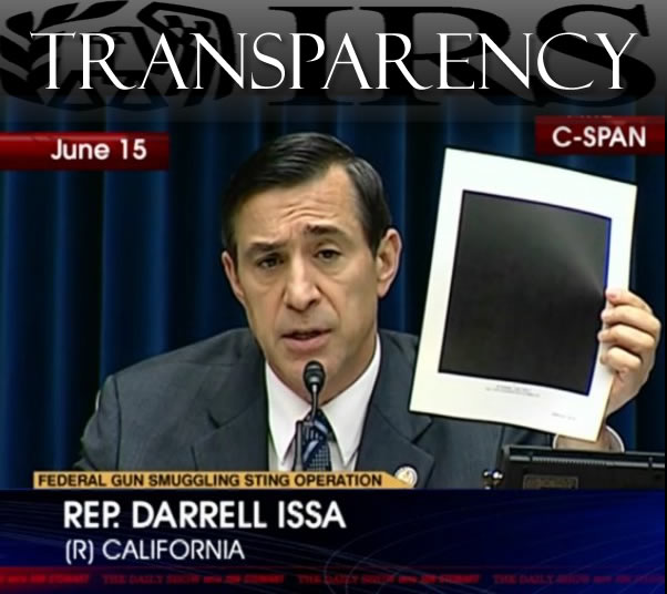 Congressman Darrell Issa holds up fully redacted IRS document