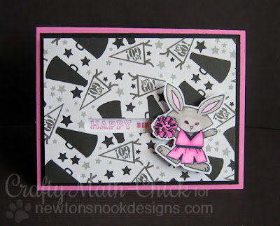 Birthday Bunny Cheerleader Card by Crafty Math Chick | Touchdown Tails by Newton's Nook Designs