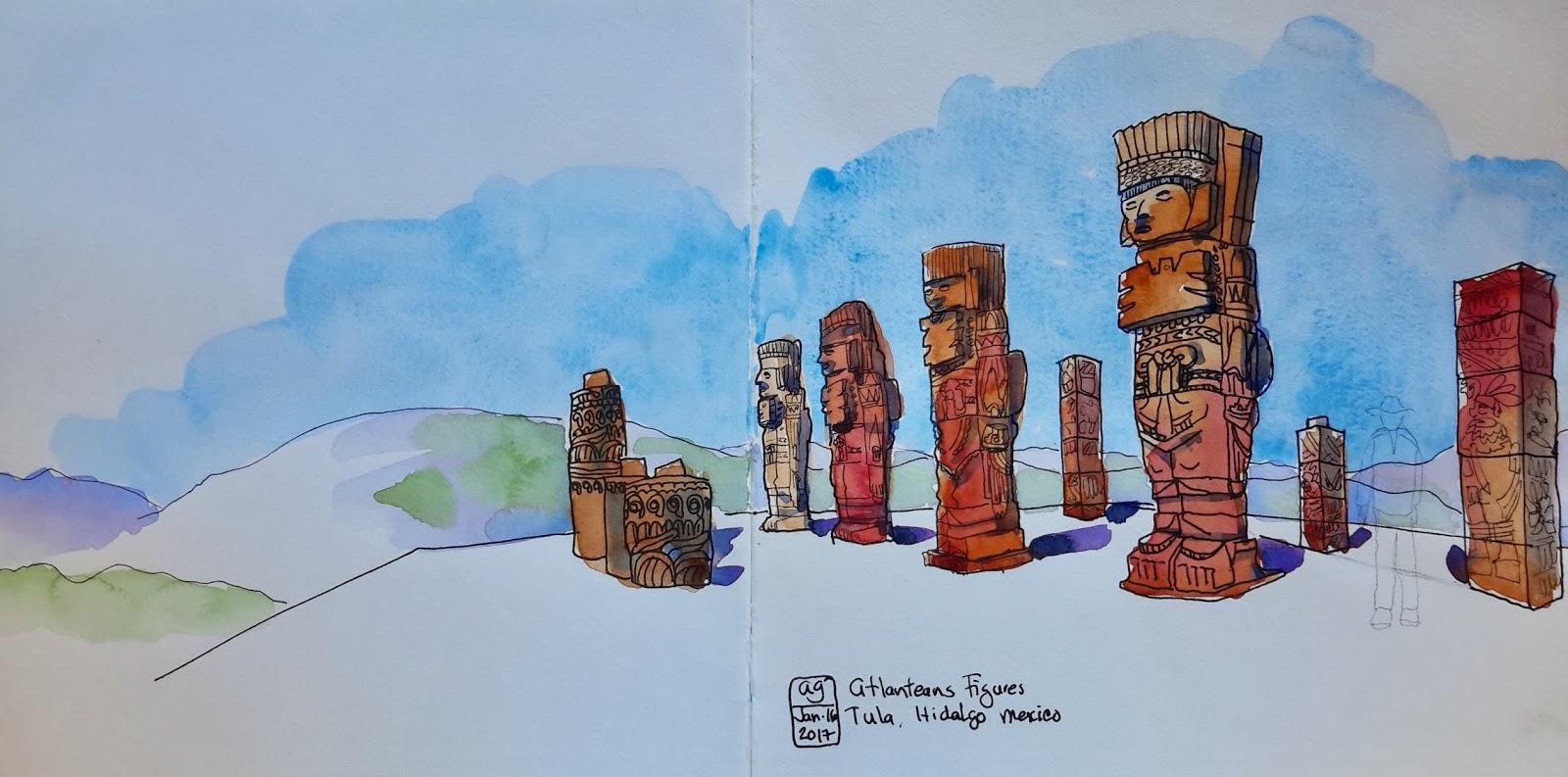 Adriana Sketches Hidalgo Part 16 Atlanteans Figures Of Tula