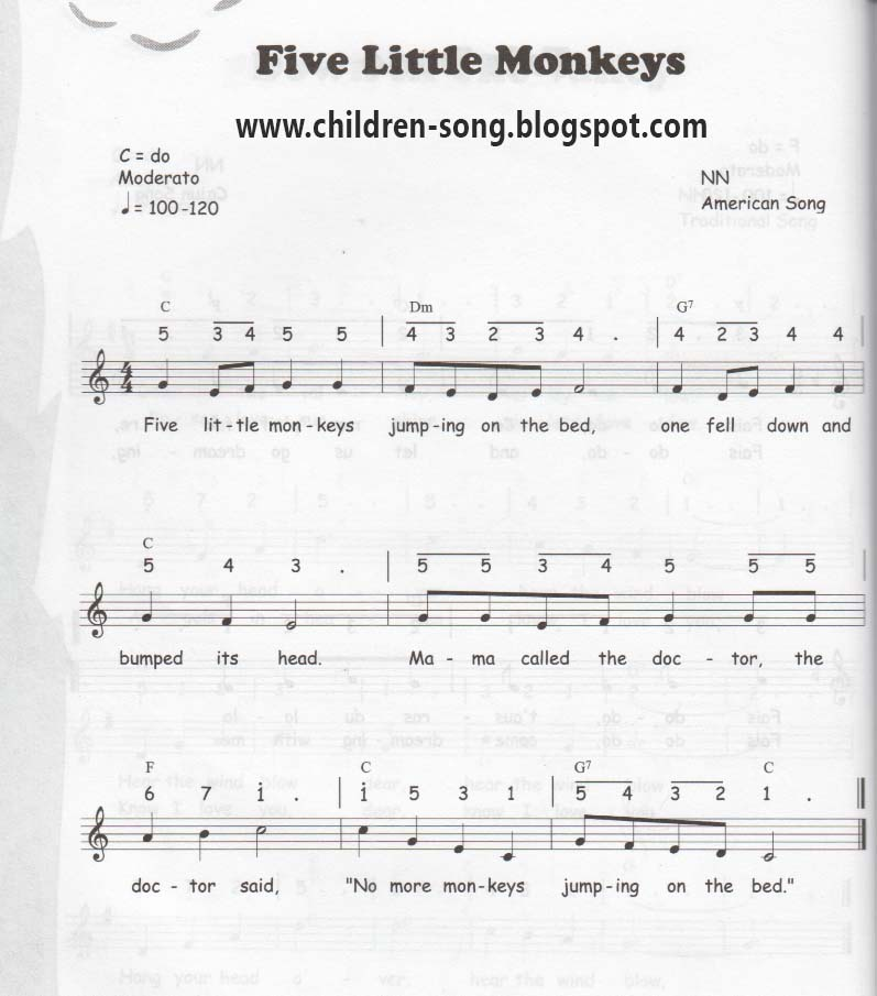 Piano piano note sheet : Little Monkey Notes and Chords
