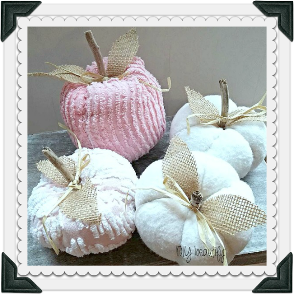 shabby pumpkins using vintage chenille