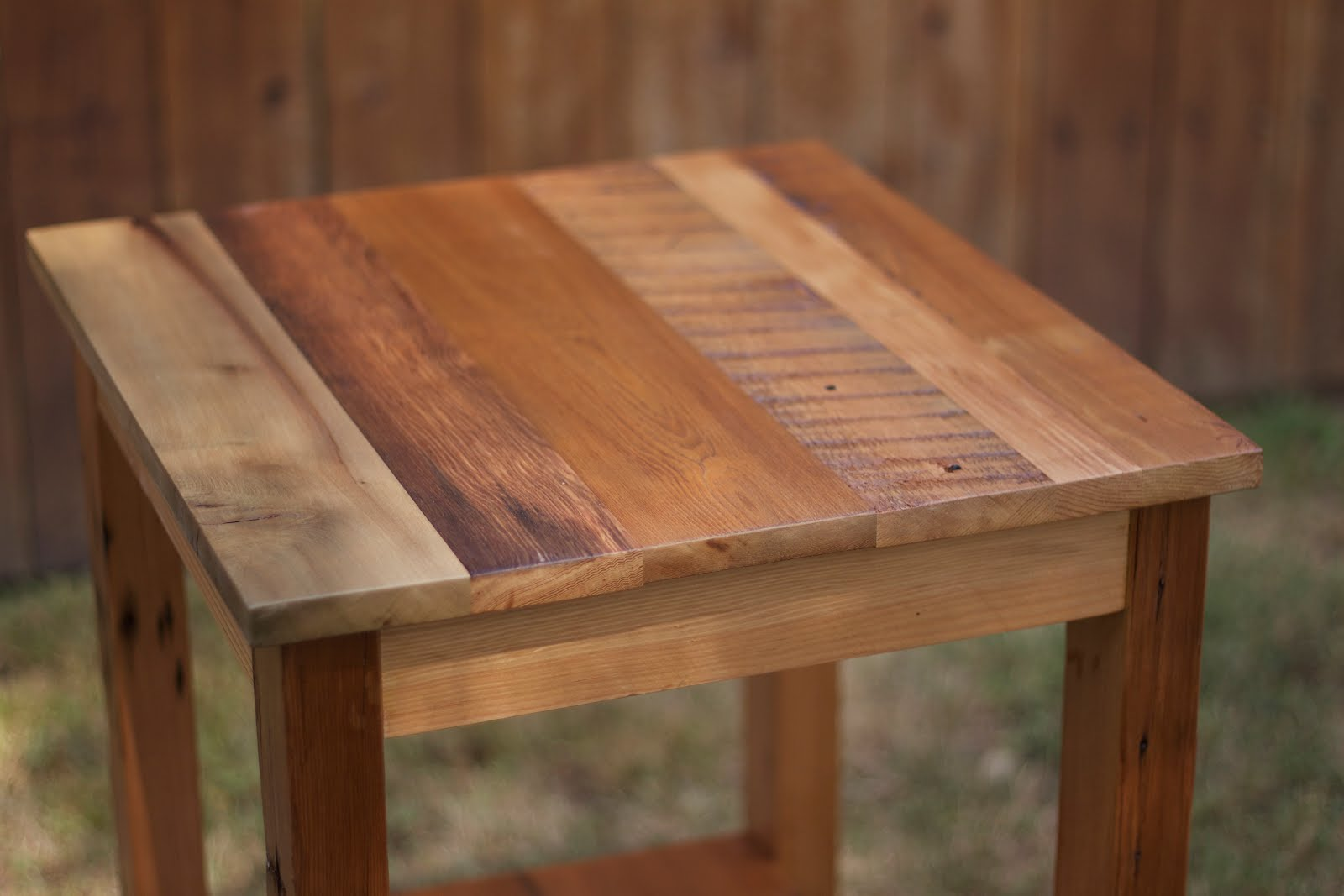 High Top End Table Arbor Exchange Reclaimed Wood Furniture Patchwork End