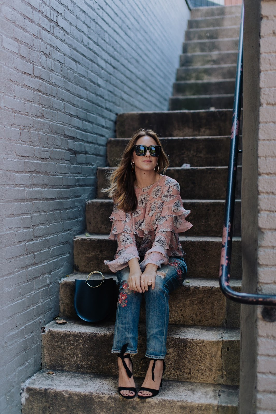 decorated denim, denim styles, denim trends, embroidered denim, patchwork denim, south moon under, denim, blogger, style, outfit, inspiration, citizens of humanity, a gold e, jeans, floral, future glory bag