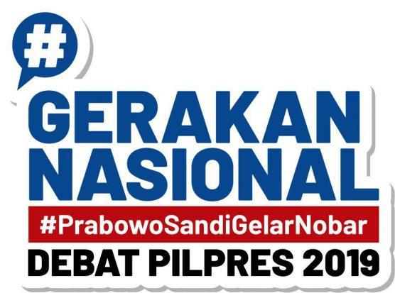 Resmi Diluncurkan, Gerakan Nasional Prabowo-Sandi Gelar Nobar Debat Capres