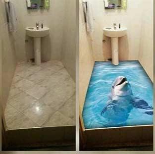 3d epoxy flooring, 3d floor art, 3d bathroom floor