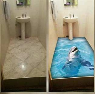 3d epoxy flooring, 3d floor art, 3d bathroom floor