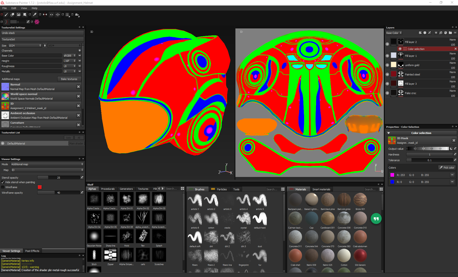 the clown pass or mask id map is used as a way to quickly mask what materials or colors will be applied to which part of the asset