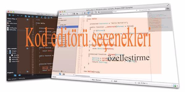 kod editörü özelleştirme