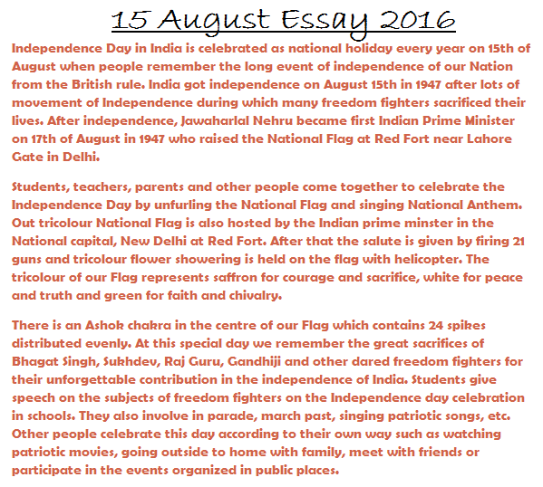 ... August Independence day ... Independence day essay Images for Students