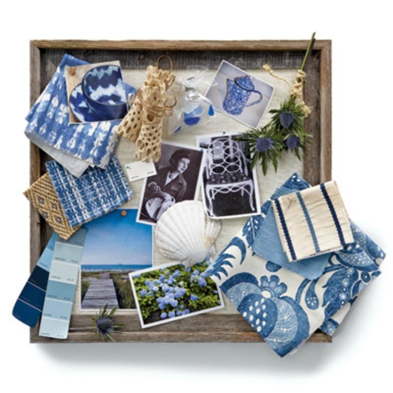 blue coastal cottage color design board