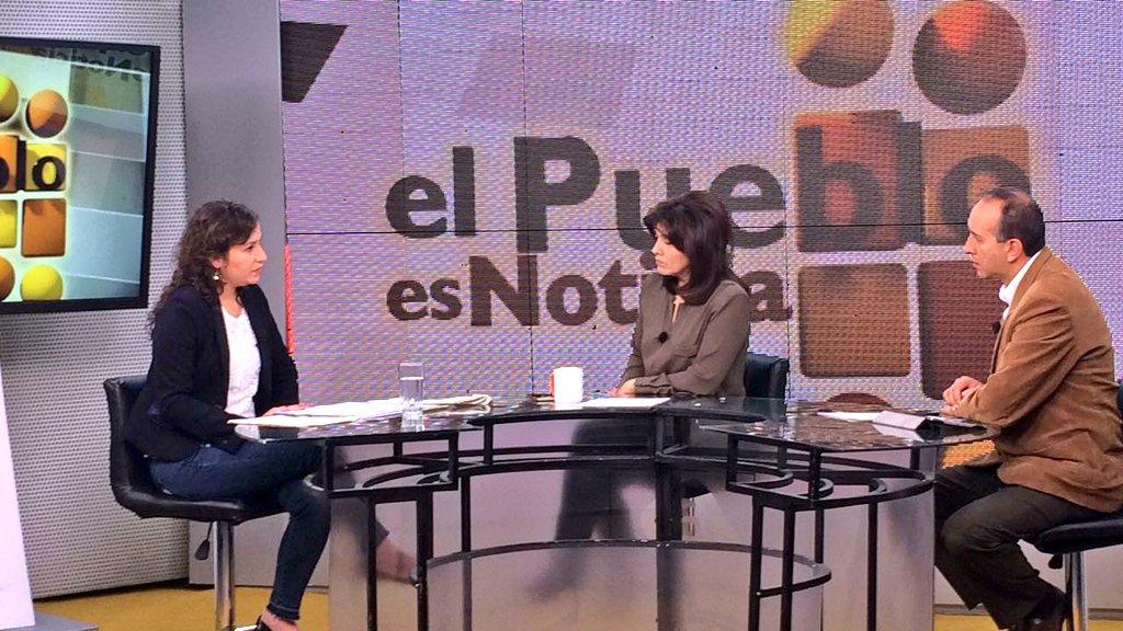 Campero entrevistada por los medios gubernamentales de radio y televisión