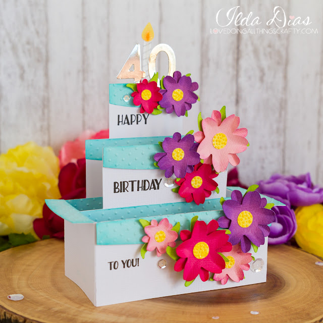 3D,80 years old,Sizzix Big Shot,Triple-layer box card,#SVGCuts,Silhouette Cameo,SVG Cuts file,ilovedoingallthingscrafty,40 years old,Paper cake,Birthday Card,