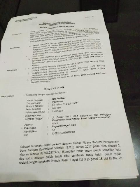 Surat penetapan status tersangka Kepala SMK Negeri 2 Kisaran