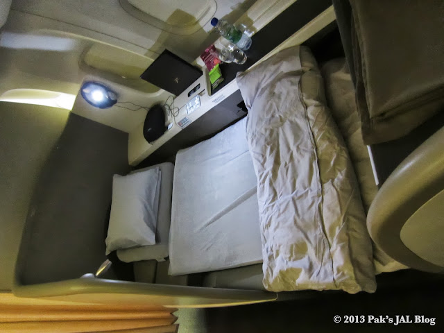 JAL adds a Tempur mattress pad and an extra pillow when turndown service was requested.