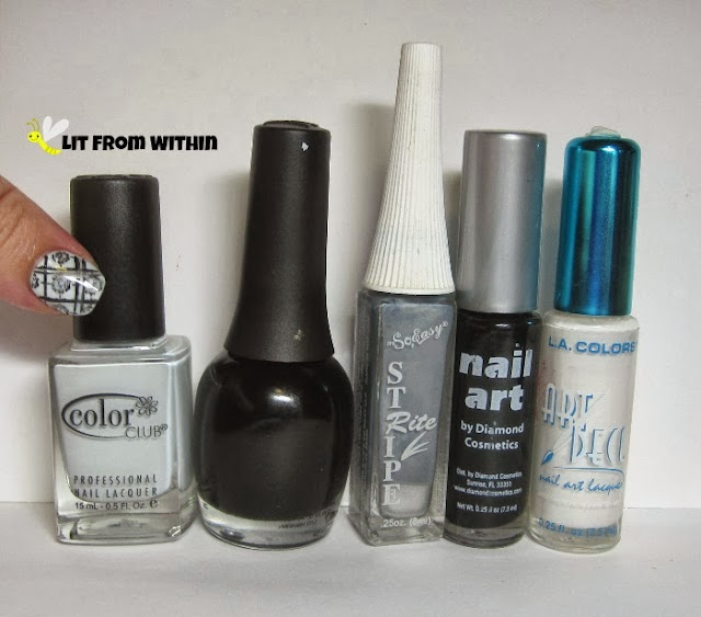Bottle shot:  Color Club Silver Lake, Finger Paints Black Expressionism, and stripers in grey, black, and white.