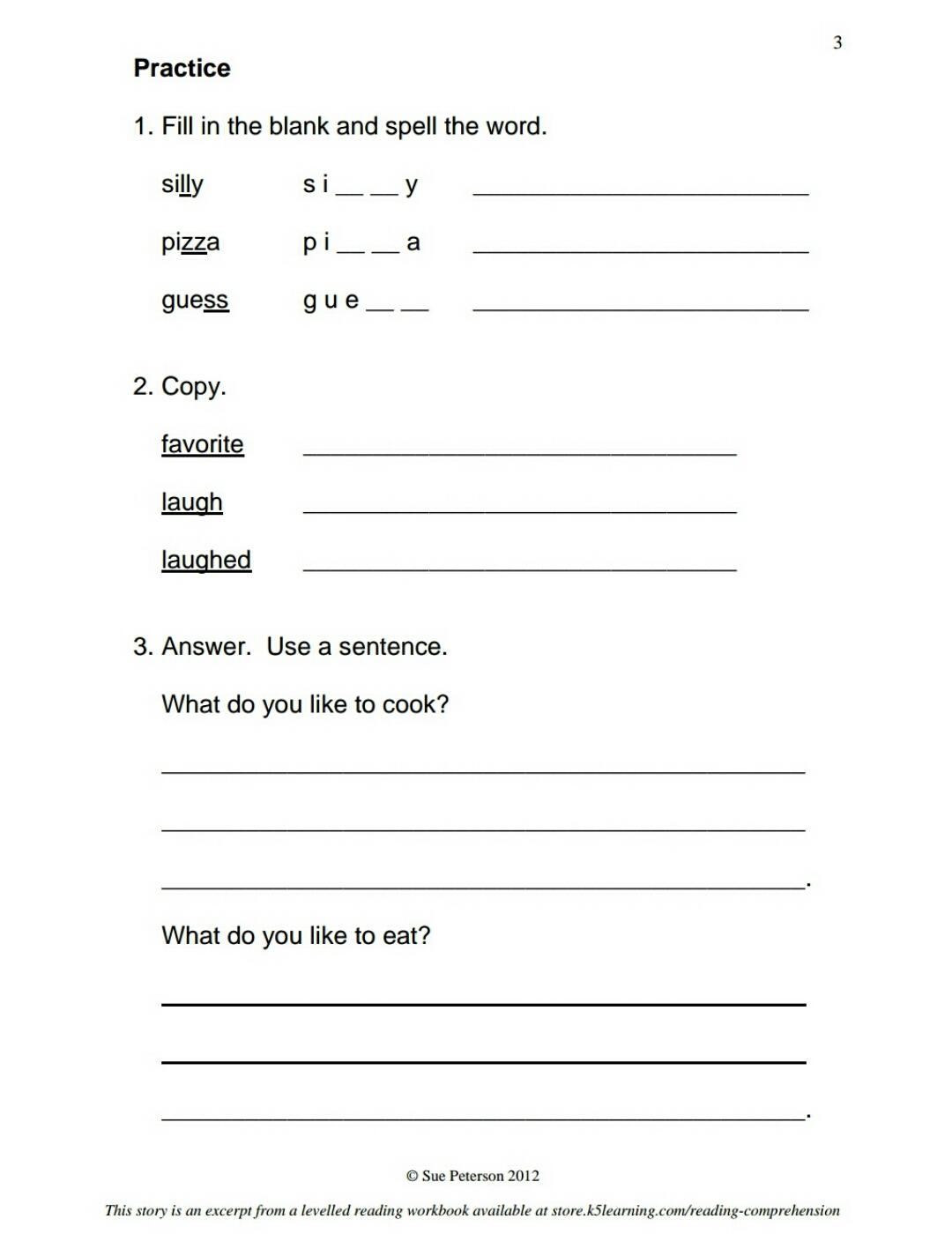 Download First Grade Reading Comprehension Worksheets