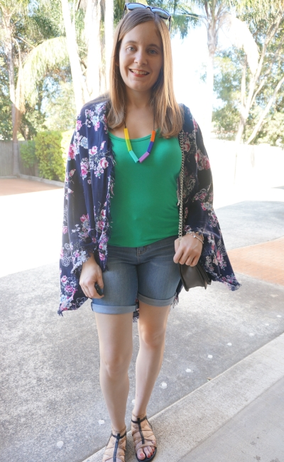 floral navy kimono blue and green denim shorts outfit | AwayFromBlue