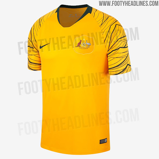 0bf36784c50 Australia 2018 World Cup Home and Away Kits + Pre-Match Jersey ...