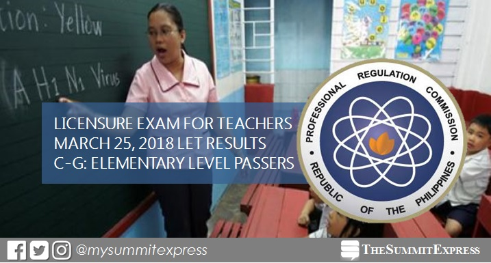 C-G Passers Elementary: LET Results March 2018