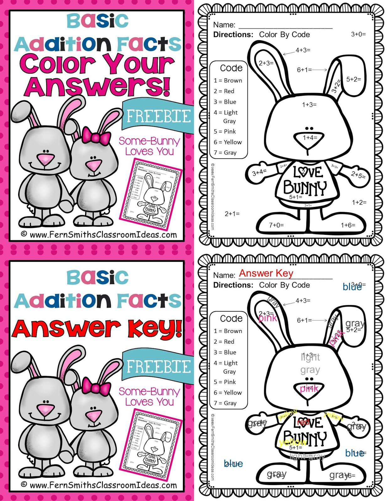 Fern Smith's Classroom Ideas Freebie Friday ~ FREE St. Valentine's Day Fun! Basic Addition - Color Your Answers Printable