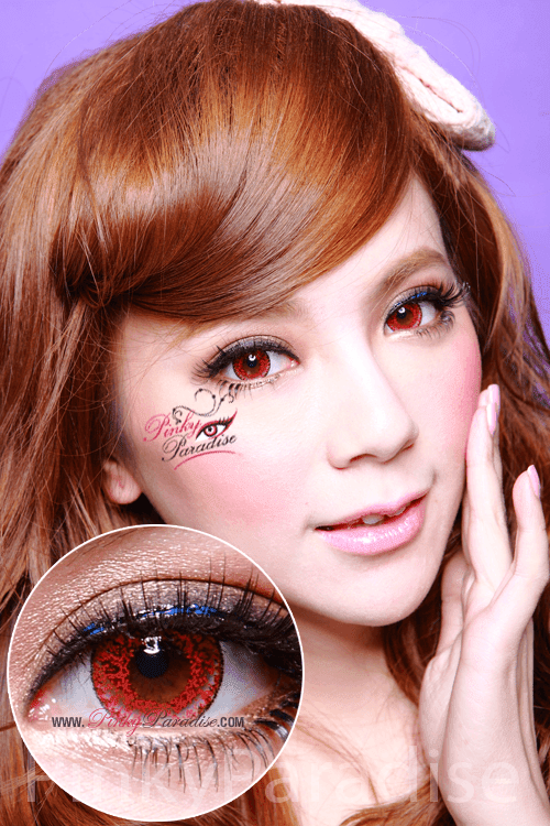 Geo Super Size Nudy Red Circle Lenses (Colored Contacts)