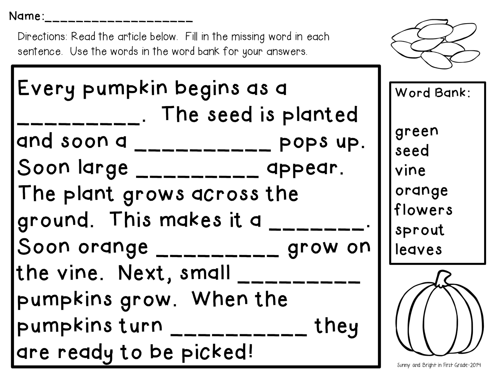 Classroom Freebies Too Pumpkin Life Cycle