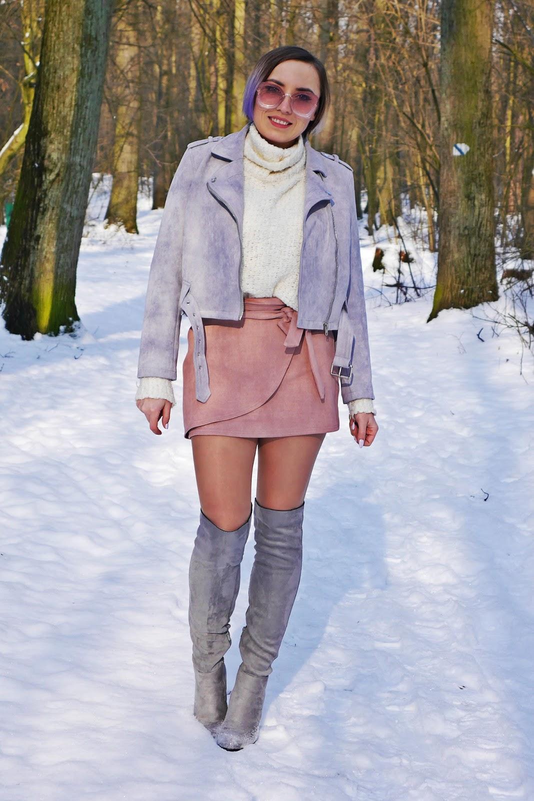 szara ramoneska rózowa spódnica kozaki za kolano renee aryn blog modowy