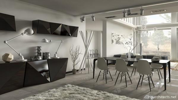 интерьер и мебель в столовой дома