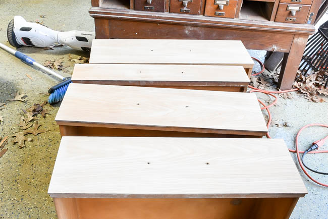 desk drawers ready for stain